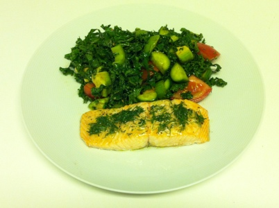 Broiled Wild Salmon with Kale Salad Recipe