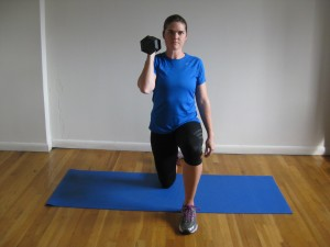 NYC Personal Trainer Kneeling One Arm Overhead Press