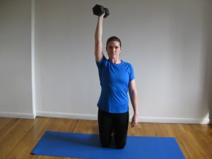 NYC Personal Trainer Tall Kneeling One Arm Overhead Press